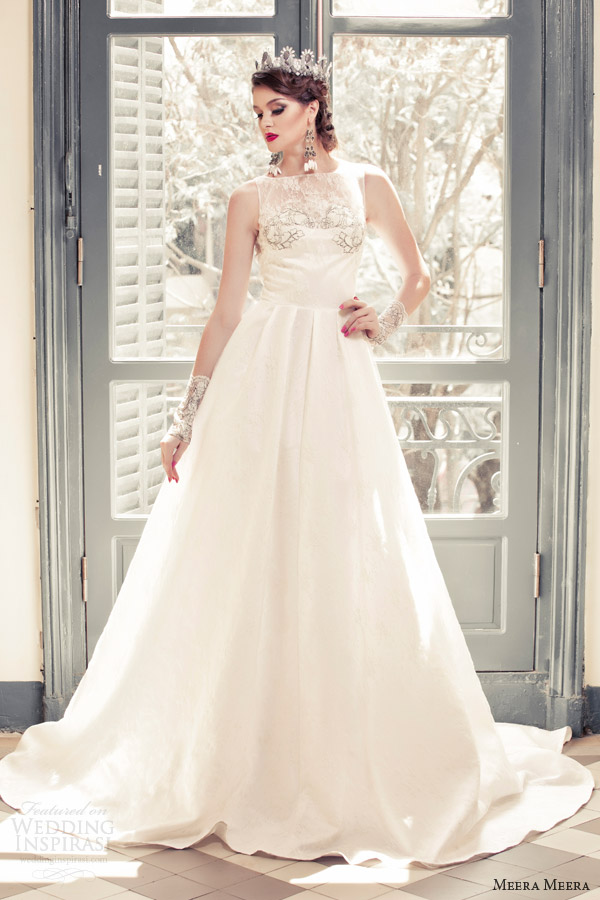 meera meera bridal fall 2013 2014 sleeveless a line princess wedding dress