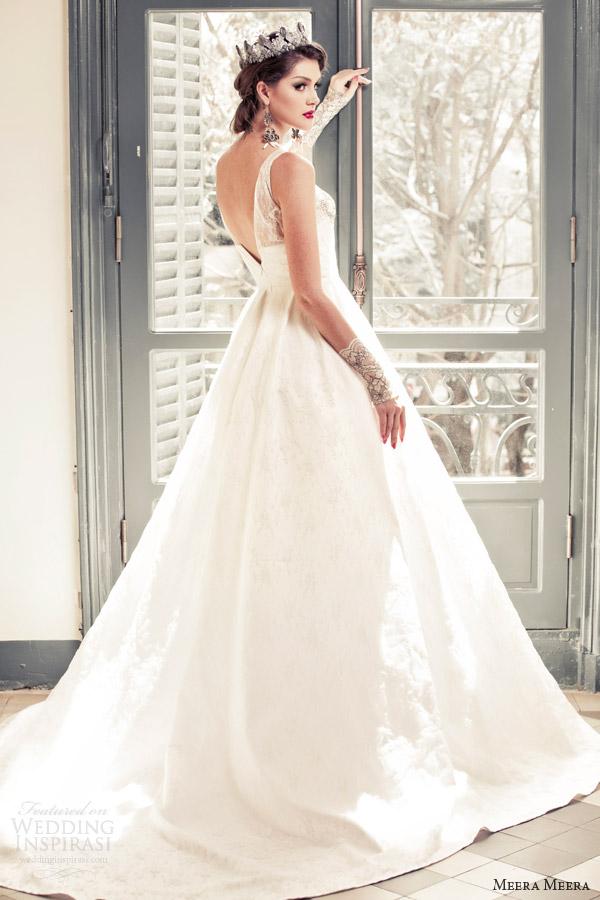meera meera bridal fall 2013 2014 sleeveless a line wedding dress