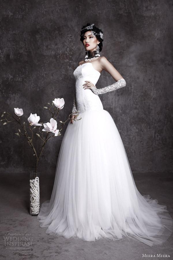 meera meera fall 2013 2014 strapless wedding dress
