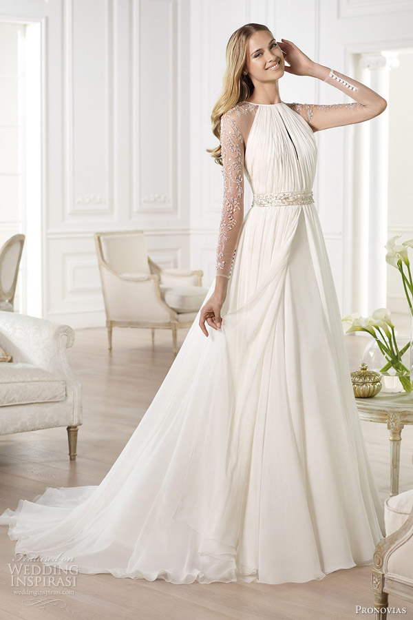 pronovias 2014 atelier bridal collection yajaida long sleeve wedding dress