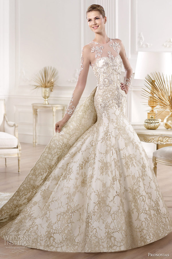 pronovias 2014 atelier bridal collection yolima gold lace wedding dress
