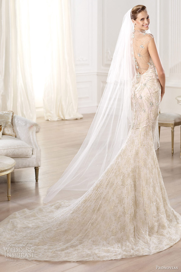 pronovias 2014 yalim wedding dress back view