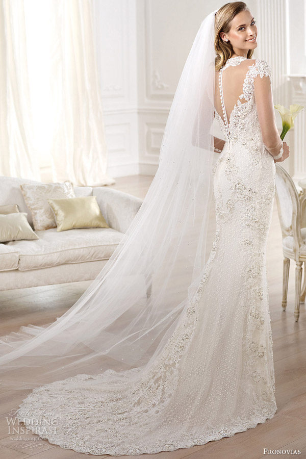pronovias atelier 2014 yanida wedding dress illusion long sleeves back
