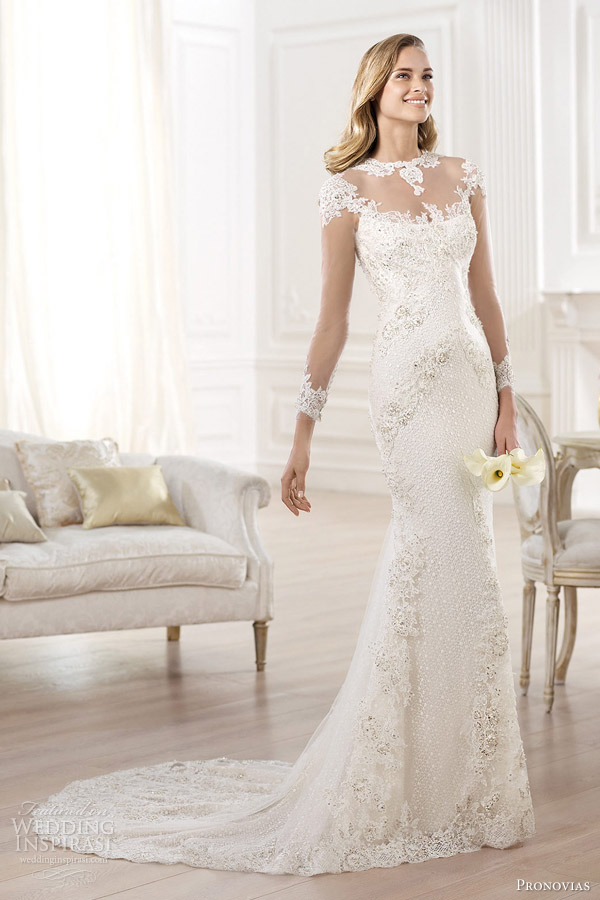 pronovias atelier 2014 yanida wedding dress illusion long sleeves