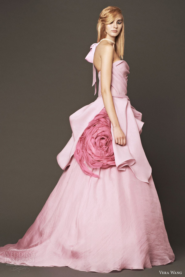 vera wang wedding dresses fall 2014 bridal pink ball gown peony flower