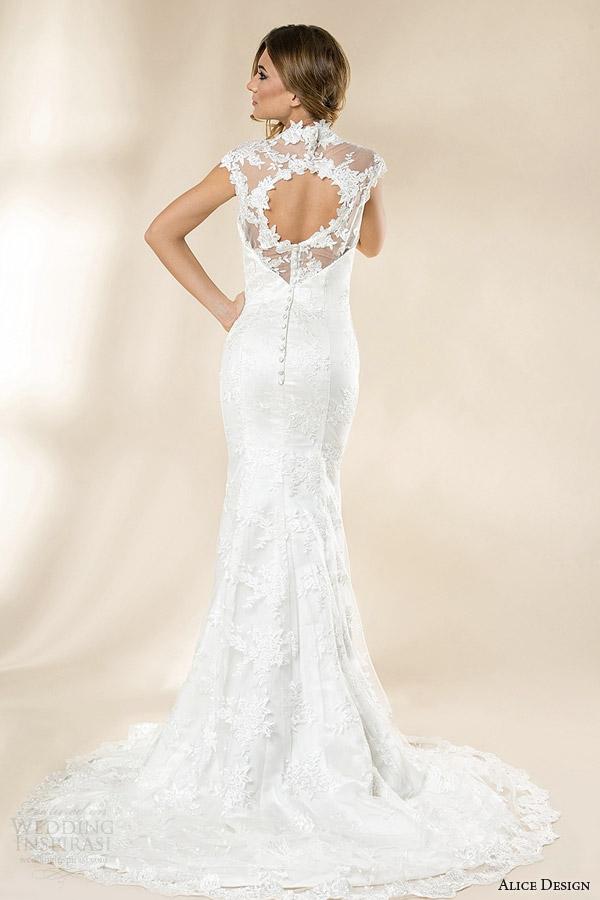 alice design romania bridal 2014 olive mermaid wedding dress keyhole back