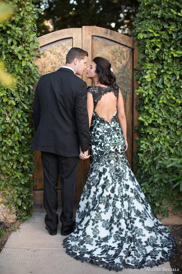 allure couture 2014 black lace wedding dress style c287 keyhole back