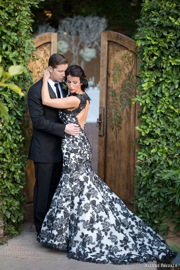 White Wedding Gown Black Lace 6