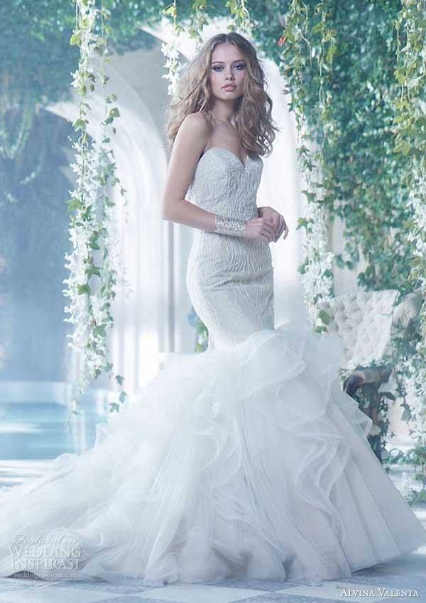 alvina valenta spring 2014 strapless trumpet wedding dress style 9414