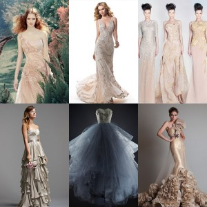 bridal trends 2014 color beyond pink wedding dresses metallic colorful