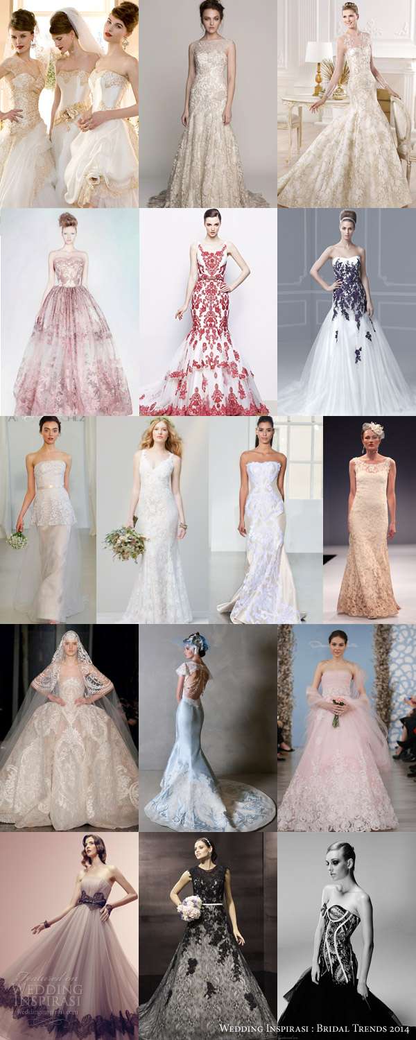 bridal trends 2014 embroidery color lace contrast wedding dresses