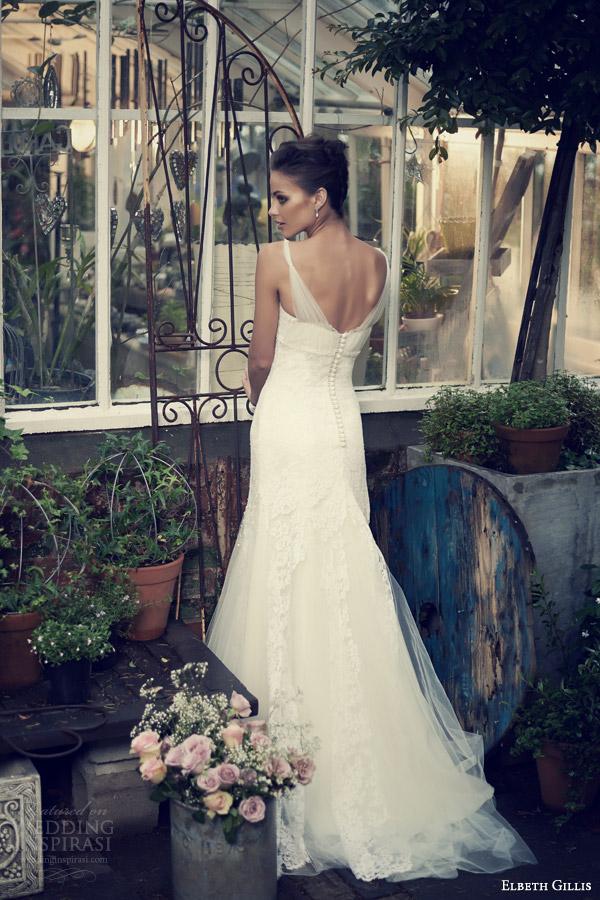 elbeth gillis 2014 bridal leia wedding gown tulle straps godet skirt back train