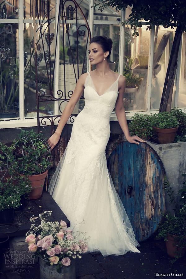 elbeth gillis 2014 bridal leia wedding gown tulle straps godet skirt