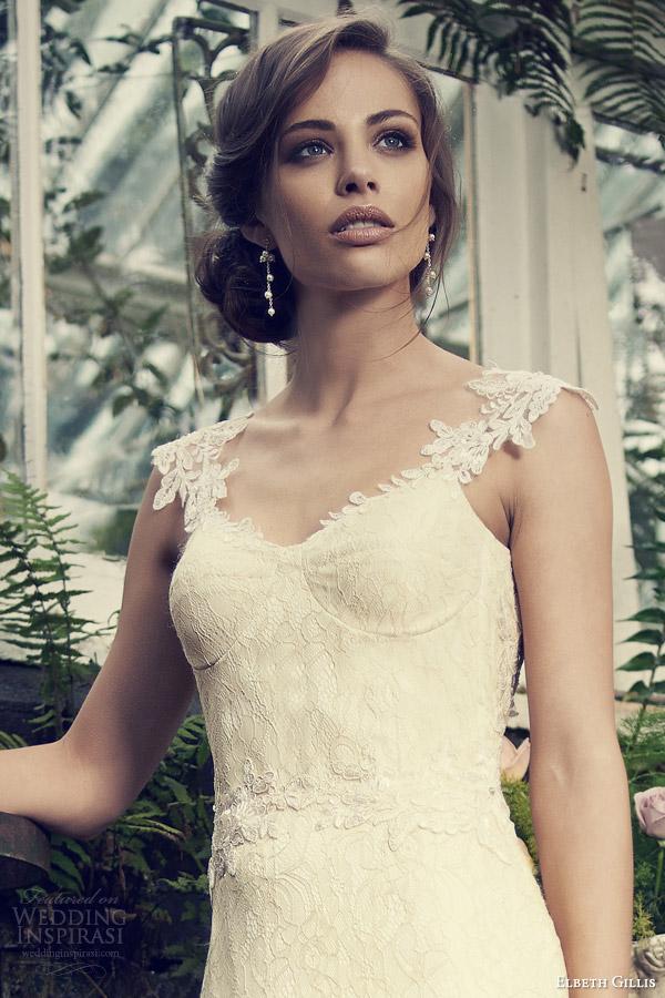 elbeth gillis bridal 2014 zelda wedding dress embroidered straps close up