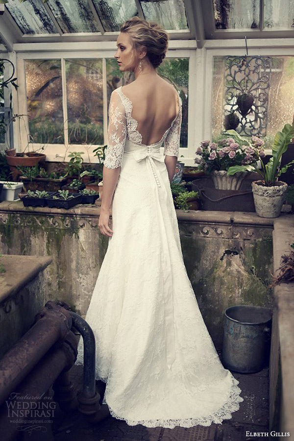 elbeth gillis wedding dresses 2014 catherine lace gown sleeves back train