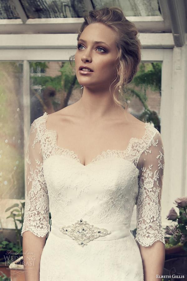 elbeth gillis wedding dresses 2014 catherine lace gown sleeves detachable embeelished sash bodice close up
