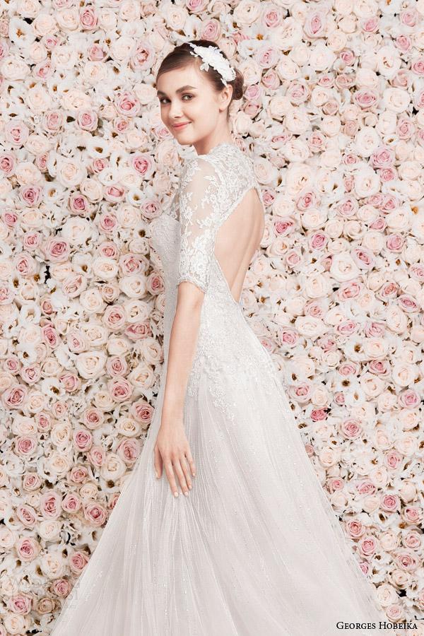 georges hobeika bridal 2014 half sleeve wedding dress keyhole back