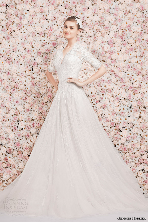 georges hobeika bridal 2014 half sleeve wedding dress