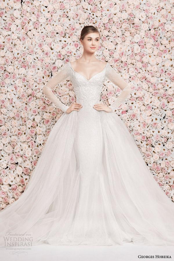 georges hobeika bridal 2014 illusion long sleeve wedding dress over skirt