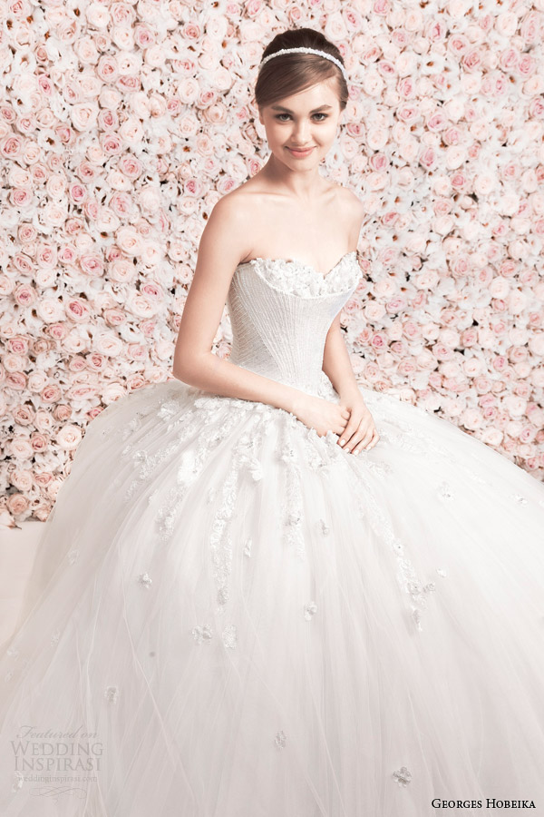 georges hobeika bridal 2014 strapless ball gown wedding dress