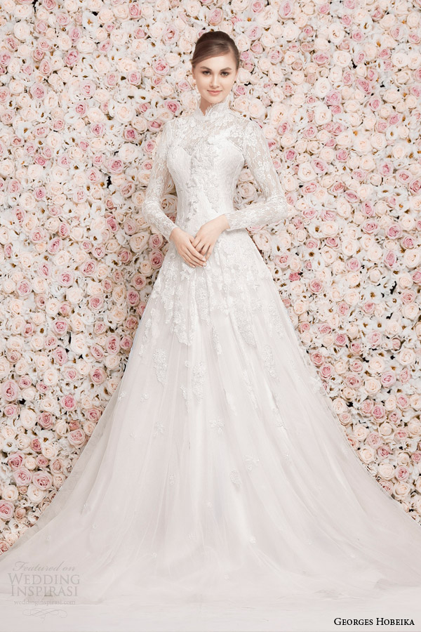 Georges hobeika bridal 2014 wedding dresses wedding for Long sleeve indian wedding dresses