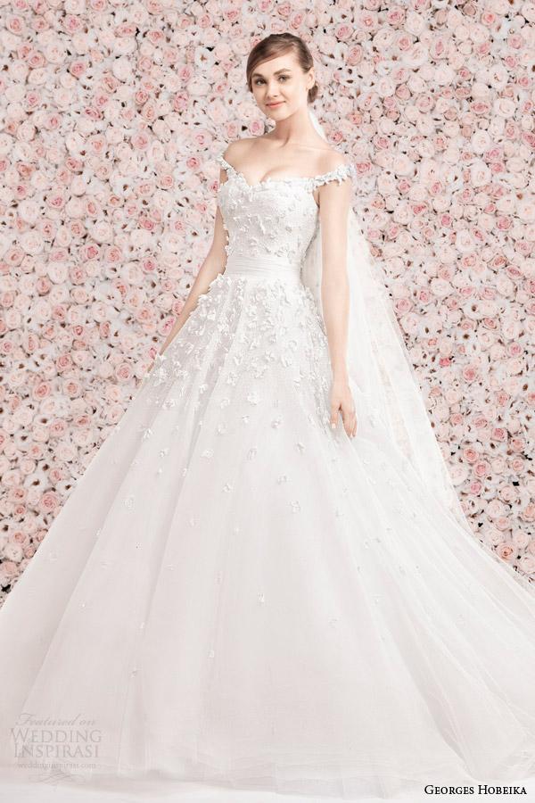 georges hobeika bridal spring 2014 wedding dress with off the shoulder straps