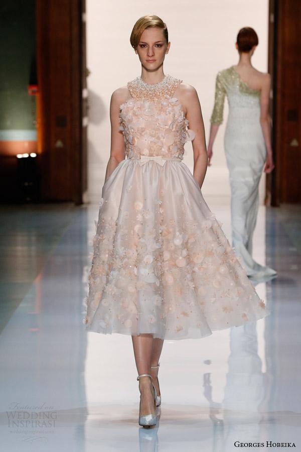 georges hobeika couture spring 2014 halter neck peach dress bow tea length
