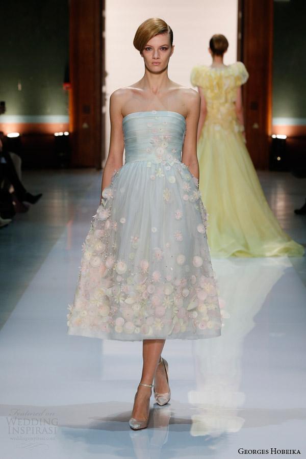 georges hobeika couture spring 2014 light blue strapless dress with flowers Georges Hobeika: Sve nijanse elegancije