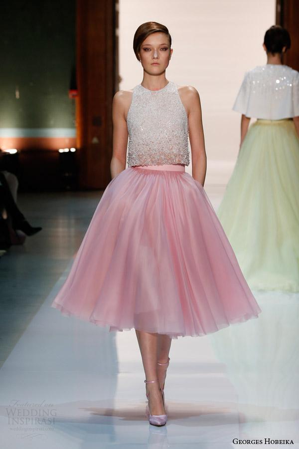 georges hobeika couture spring 2014 pale pink tea length skirt beaded top Georges Hobeika: Sve nijanse elegancije