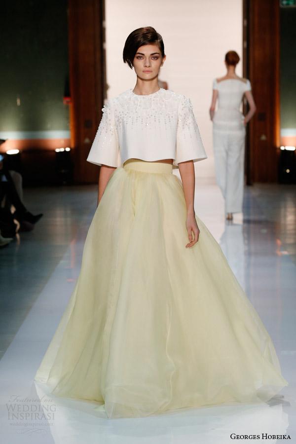 georges hobeika couture spring 2014 pale yellow half sleee beaded top Georges Hobeika: Sve nijanse elegancije