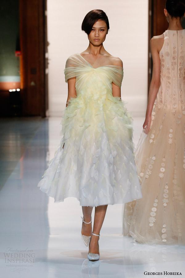 georges hobeika couture spring 2014 pale yellow ombre petal dress Georges Hobeika: Sve nijanse elegancije