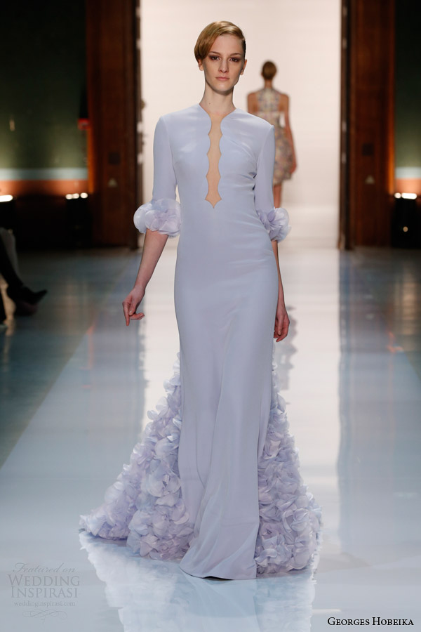 georges hobeika couture spring 2014 powder blue gown sleeves petals