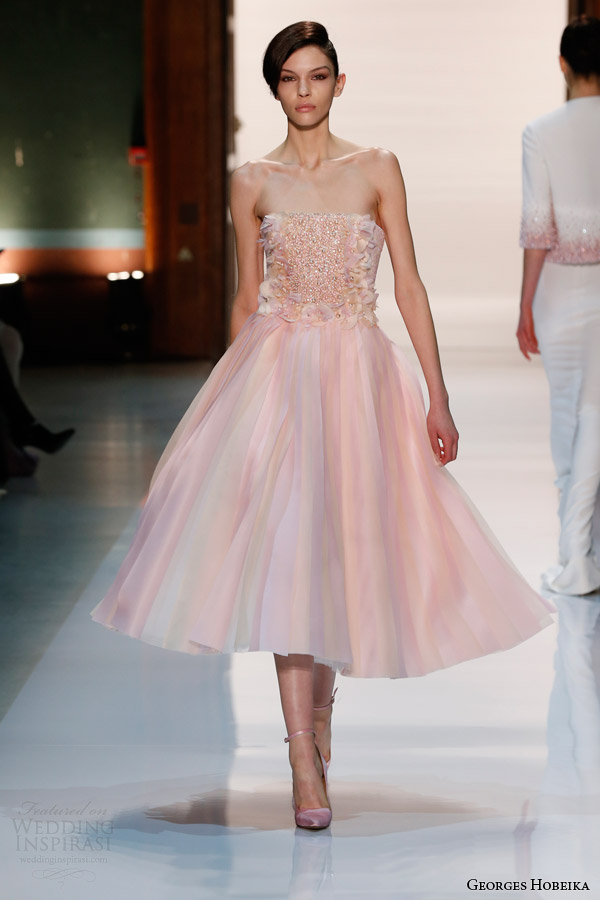 Georges Hobeika Couture Spring 2017 Strapless Pale Pink Tea Length Dress Pearl Beaded Bodice