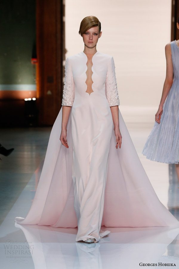 georges hobeika couture spring 2014 three quarter sleeves scalloped neckline train Georges Hobeika: Sve nijanse elegancije