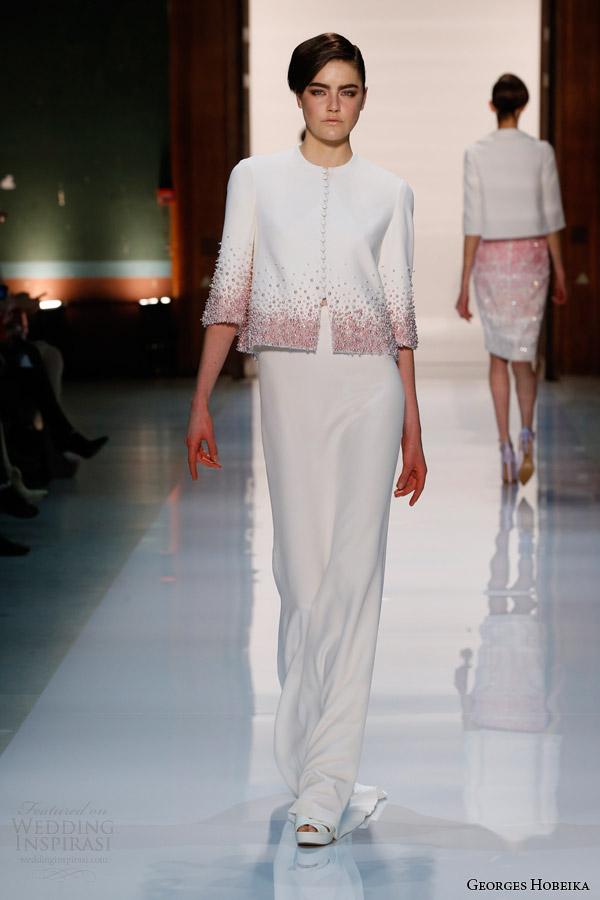 georges hobeika couture spring summer 2014 jacket full length skirt ombre degrade beading