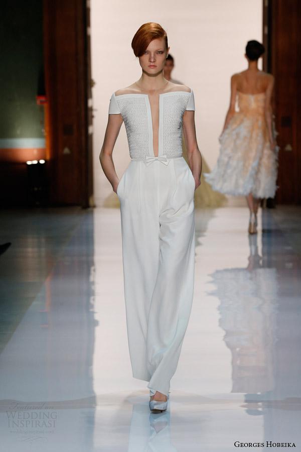 georges hobeika spring 2014 couture pearl embellished white jumpsuit Georges Hobeika: Sve nijanse elegancije