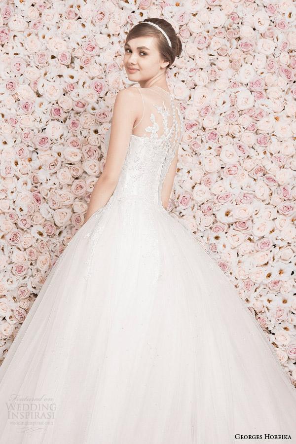 georges hobeika wedding dresses 2014 sleeveless illusion neckline ball gown back detail
