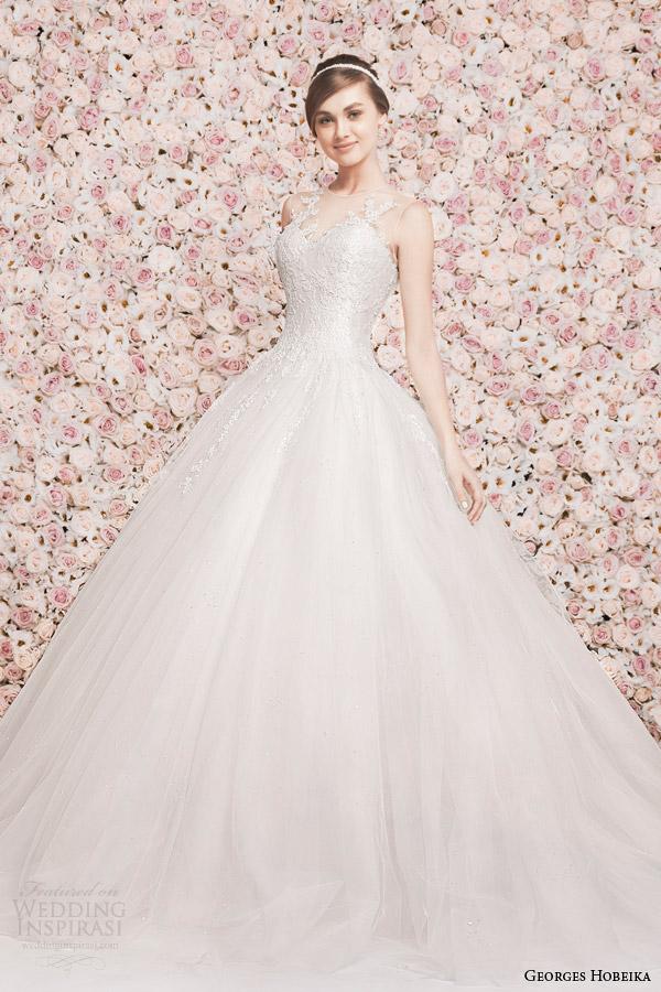 georges hobeika wedding dresses 2014 sleeveless illusion neckline ball gown