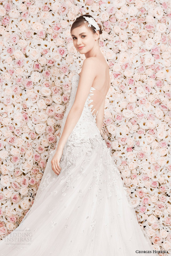 georges hobeika wedding dresses 2014 strapless gown illusion back detail