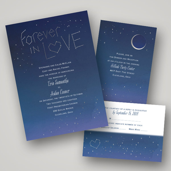 Invitations By Dawn Gold Foil Pressed Wedding Invitation Card Style Stars Aligned