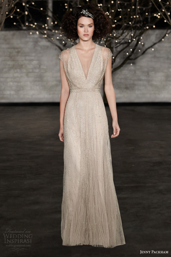jenny packham bridal 2014 charlotte illusion cap sleeve wedding dress