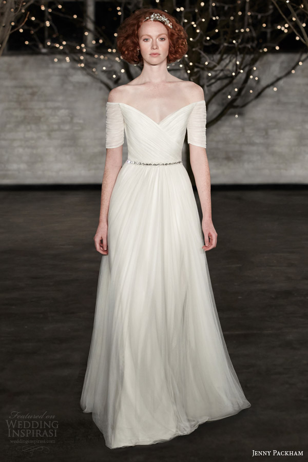 jenny packham bridal spring 2014 belle off shoulder wedding dress