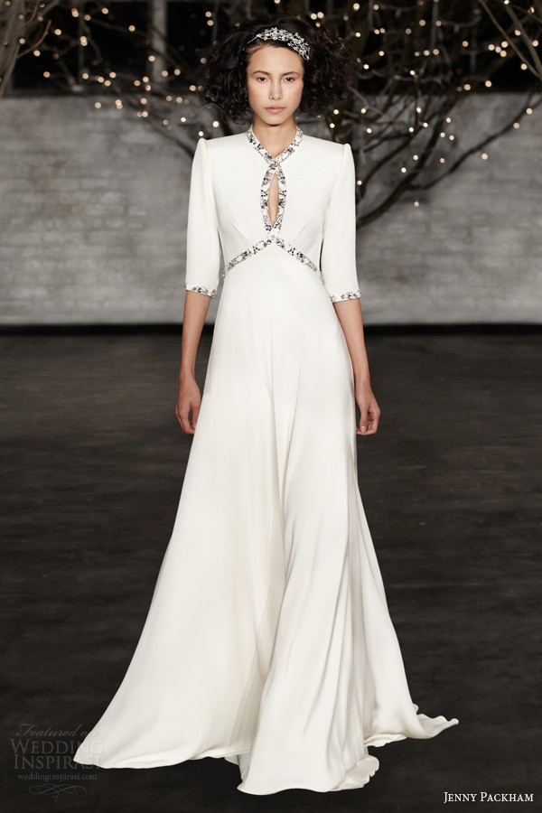 jenny packham bridal spring 2014 cynthia three quarter sleeve wedding dress