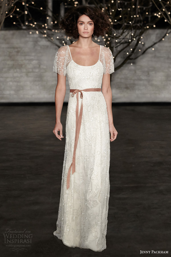 jenny packham bridal spring 2014 freya wedding dress illusion short sleeves