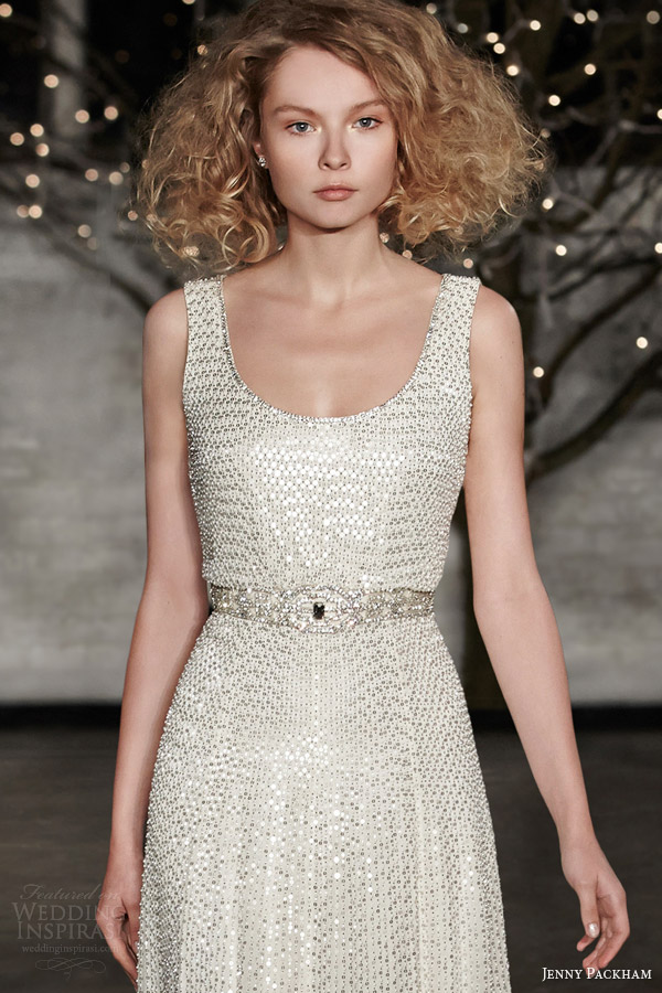 jenny packham bridal spring 2014 kathleen sleeveless tank strap bodice wedding dress close up