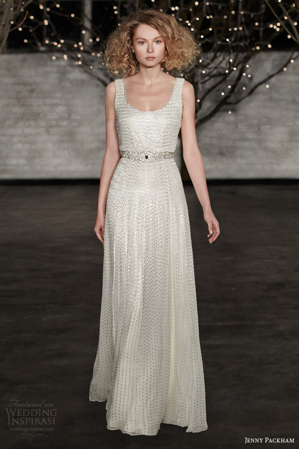 jenny packham bridal spring 2014 kathleen sleeveless tank strap bodice wedding dress