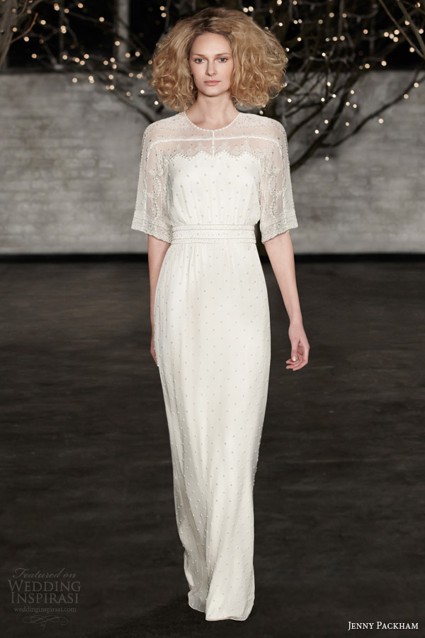jenny packham bridal spring 2014 pearl half sleeve wedding dress
