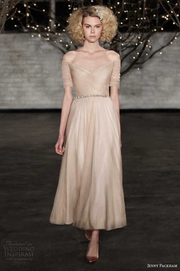jenny packham spring 2014 hayley tea length color wedding dress