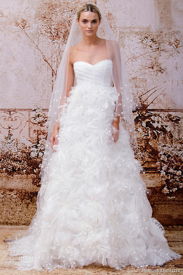monique lhuillier bridal fall 2014 holly strapless wedding dress