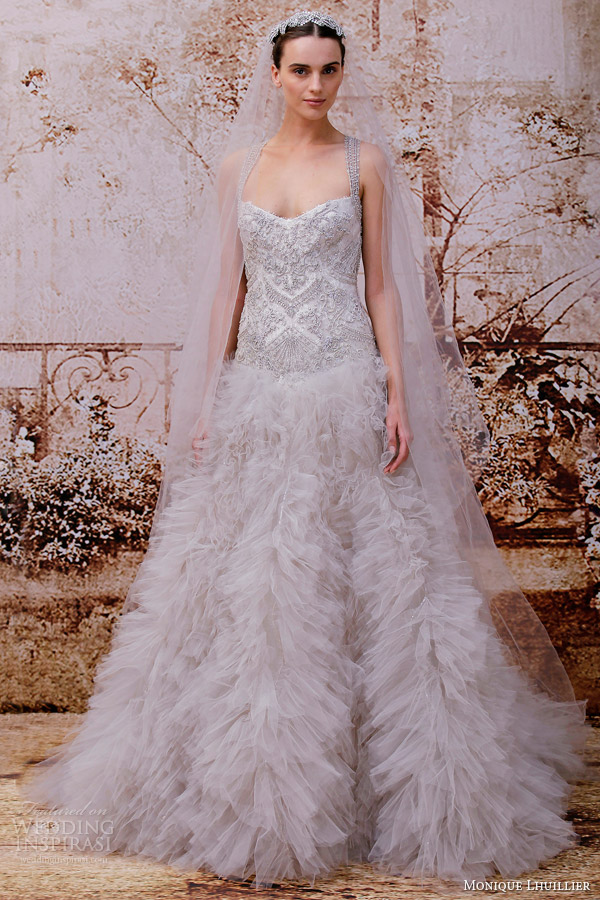 monique lhuillier bridal fall 2014 violet wedding dress smoke tulle embellished gown
